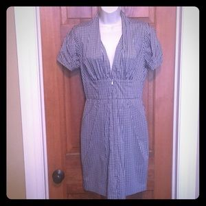 BCBG Max Azria Blue/grey plaid day dress size 6